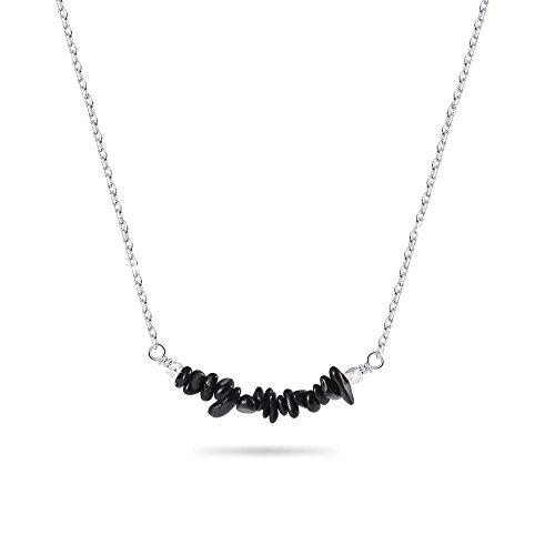 CheersLife Collar Colgante de Piedras Preciosas - Collar Turmalina Negra Cristal de Cuarzo Naturales de curacion para Mujeres 18 Inches, Plata