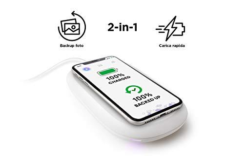 SanDisk iXpand Wireless Charger 256 GB, Caricabatterie Veloce da 10 W con Backup Automatico di Foto per Smartphone Apple e Android Compatibili con Tecnologia Qi