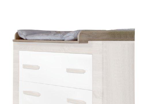 Wimex 384424 Wickelaufsatz für Kommode Emily 406, Eiche Sägerau Nachbildung, 74 x 8 x 90 cm - Emily Baby Möbel