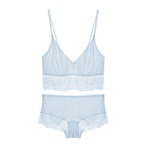 Deep Bikini Brief (Damen Dessous Unterwäsche Bodys Bras Dessous Set Sexy Lace Tube Top BH Aktentaschen Briefs,C-S)