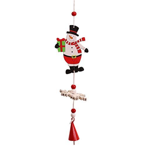 Heetey Weihnachten Frohe Weihnachtsschmuck Holz Christbaumschmuck Kleine Anhänger Gemalte hölzerne Schneeflockenglockenschnur des Alten Mannes Weihnachtsbaumschmuckwind-Glockenspielschnur -