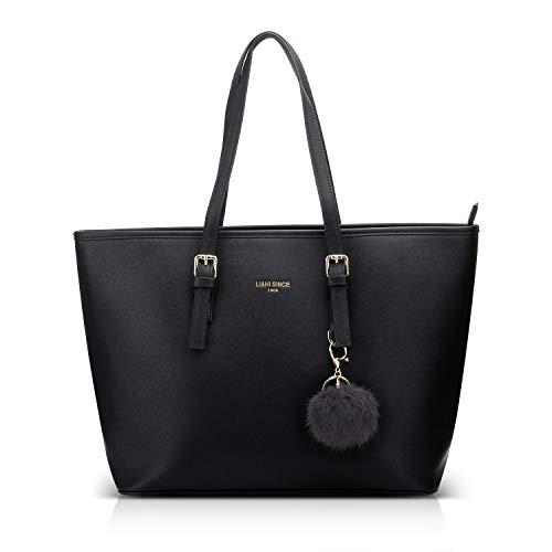 LI&HI Damen Handtasche Shopper Handtasche Schwarz Elegant Schwarze Groß Damen Tasche für Büro Schule Einkauf mit Kaninchen Pelz Kugel Plüsch Schlüsselring (Verbesserte Version) - 34/29/15.5 CM -