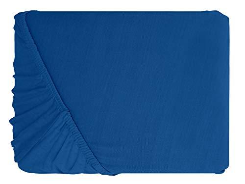 npluseins klassisches Jersey Spannbetttuch – erhältlich in 34 modernen Farben und 6 verschiedenen Größen – 100% Baumwolle, 90-100 x 200 cm, royalblau - 2