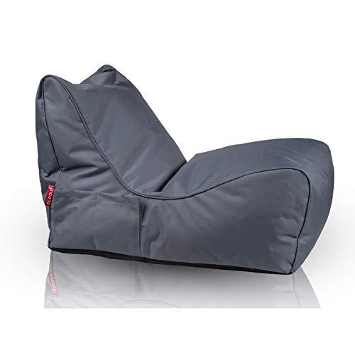 Ecopuf flavio chaise longue poltrona divanetto pouf da esterno in poliestere  puff vuoto  grigio nc16