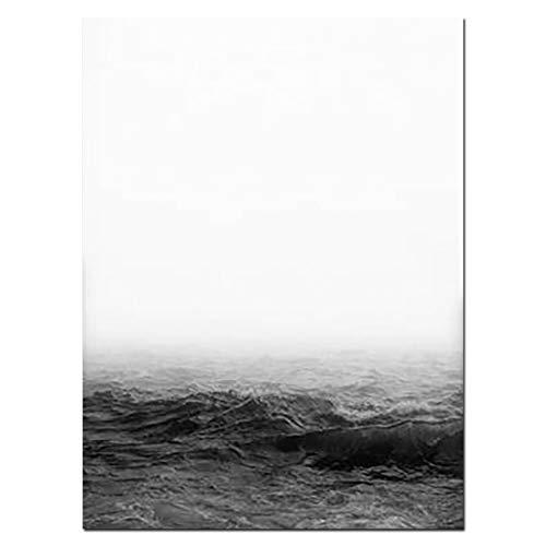 20 Schwarz-tintenstrahl (ZHUANG Dekorative Malerei Moderne Landschaft Wandkunst Minimalistische Leinwand Poster Wandbild Schwarz-Weiß Natur Malerei Drucke Kunst, 20X25Cmnoframe, 01)