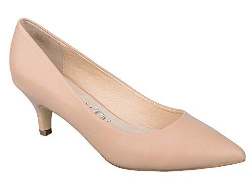Greatonu Damen Durchgängies Plateau Sandalen mit Keilabsatz, Beige - Nude - Größe: 38