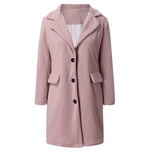 kolila Elegant Cardigan Mantel Damen Casual Faux Woolen Jacke Langarm Revers Tasche Taste Trench Oberbekleidung Outerwear -
