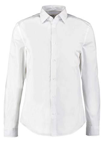 Pier one camicia da uomo a maniche lunghe in tinta unita bianca, taglia xl
