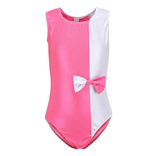 ChYoung Sparkle ärmellose Gymnastikanzüge für Mädchen Kinder Ballettanzüge Dance Wear Tank Bodysuit Kostüme mit großer Schleife (Weihnachten Elf Dance Kostüme)