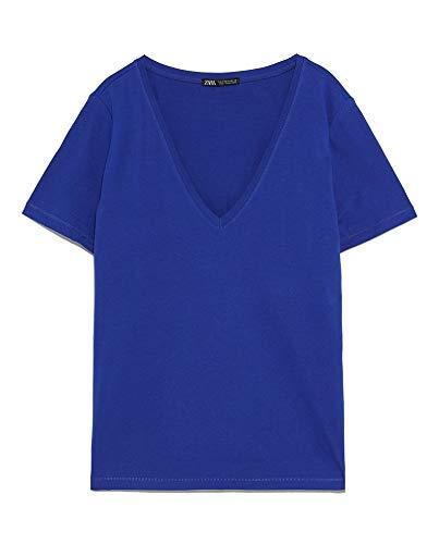 ZARA Damen Shirt mit v-Ausschnitt 4873/270 (Small)