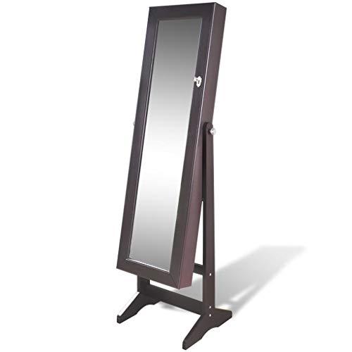 VidaXL Espejo joyero marrón de pie con luz LED