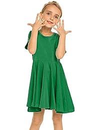 Kleid Mädchen Sommer A-Linie Kurzarm/Langarm Baumwolle einfarbig Prinzessin T-Shirt Kleider Basic Fattern Skaterkleid Rundhals Freizeitkleidung Gr. 110-150
