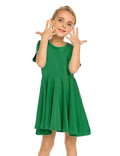 Kleid Mädchen Sommer A-Linie Kurzarm Baumwolle T-Shirt Kleider Freizeitkleidung, Grün, 150 (Mädchen T-shirt Kleid)