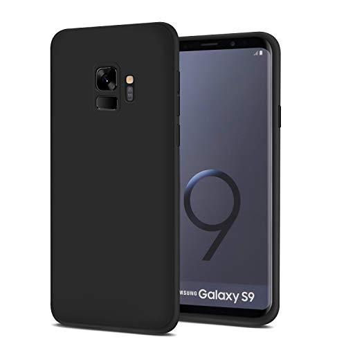 Whew Hülle Kompatibel Samsung Galaxy S9, Matt Schwarz Ultra Dünn Flexibel Silikon Case Premium TPU Schutzhülle, Anti-Fingerabdruck und Anti-Kratzer Anti-Dropping Handyhüllen Kompatibel Galaxy S9 (Lautsprecher Mit Kühler)