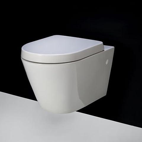 Rimless Rak recurso compacto inodoro WC asiento de cierre suave forma de D de pared con 520