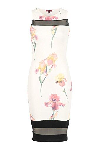 Mesdames Contraste Floral Mesh Panel Robe moulante EUR Taille 36-42 Crème -jaune Florals