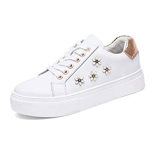 YAN Damen Sneakers Flache Leder Sportschuhe Academy Deck Schuhe Frühling Klassische Sportschuhe Fitness & Cross Training Schuhe (Farbe : Weiß, Größe : 37) -