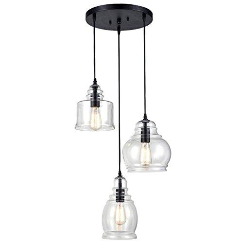 Drei Licht-insel Kronleuchter (QAZ Vintage Küche Linear Insel Kronleuchter Anhänger Beleuchtung-3 Lichter leuchten)