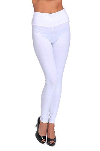 FUTURO FASHION Leggings Taille Haute, Pleine Longueur, Tailles Grandes LWP 36, Blanc