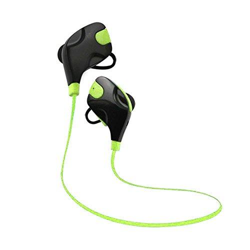 CurioCity Bluetooth Sports Stereo Earphones, Deep Bass, Built-in Handsfree Mic, Noise Cancellation (Green)