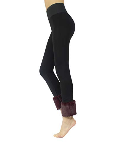Leggings push up con pelliccia | leggings elasticizzati modellanti moda | pantaloni eleganti shaper | bordeaux, verde | xs, s, m, l | made in italy (l, bordeaux)