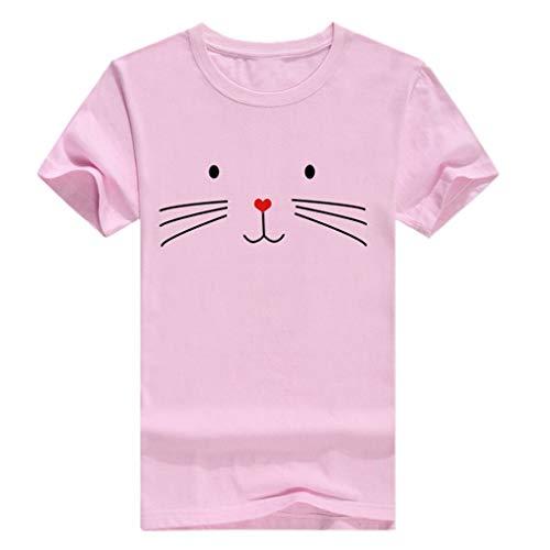 CUTUDE Damen T Shirt, Bluse Kurzarm Loses lässiges Sommer Mädchen Rundhalsausschnitt Katze Druck Weste Oberteil Top Mode 2019 (Rosa,XX-Large)