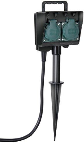 Brennenstuhl Gartensteckdose, Außensteckdose 2-fach mit Erdspieß, witterungsbeständiger Kunststoff (wasserfestes Gehäuse - 1,4m Kabel) Farbe: schwarz