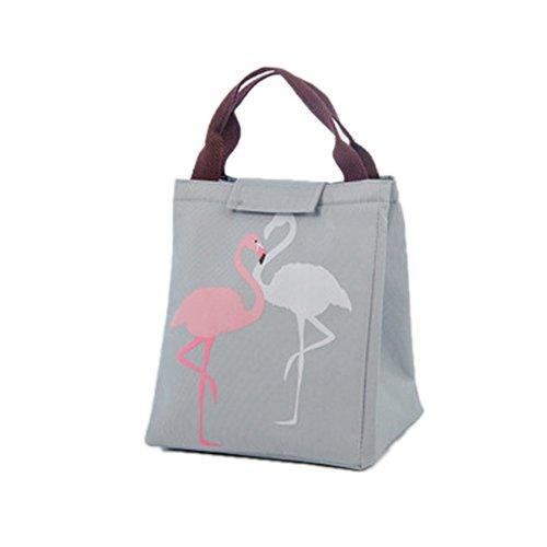 Cute Flamingo porta pranzo riutilizzabile Bento Tote borsa termica per il pranzo con chiusura in velcro per picnic lavoro scuola, Tessuto Oxford, Black, taglia unica Grey