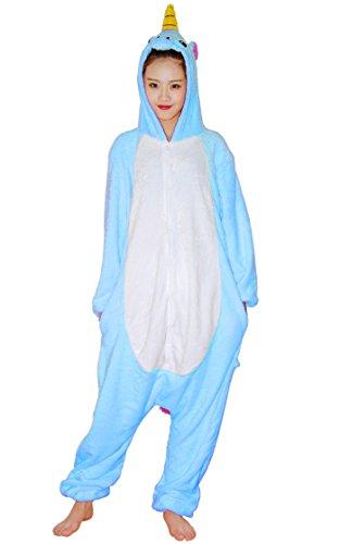 Imagen de chicone unicorn kigurumi pijamas unisexo adulto traje disfraz animal adulto animal pyjamas traje disfraz de halloween, blue, m height 160 169cm