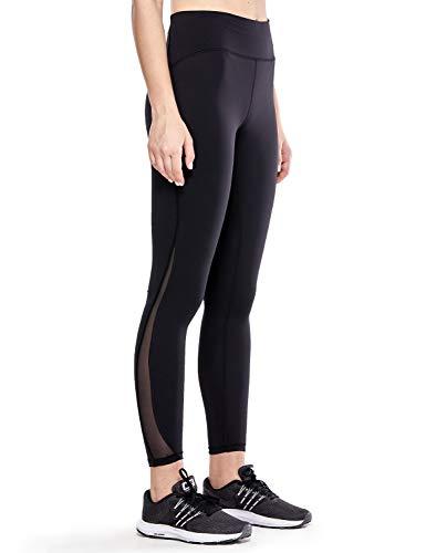 CRZ YOGA Damen Sports Yoga Leggings Sporthose mit Hoher Taille,Taschen-Nackte Empfindung -63cm Schwarz - Reißverschlusstasche XXS(34)