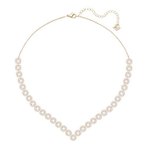 Swarovski Angelic Square Halskette, Groß, Weiss, Rosé vergoldung (Square Swarovski Halskette Crystal)
