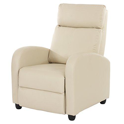 Fernsehsessel Relaxsessel Liege Sessel Denver, Kunstleder ~ creme