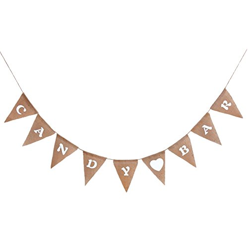 """Oblique-Unique® Girlande """"CANDY BAR"""" in rustikalem Vintage Stil aus Leinen - Perfekt zu Deko der Candybar auf Hochzeiten, Geburtstagen und anderen Feiern"""