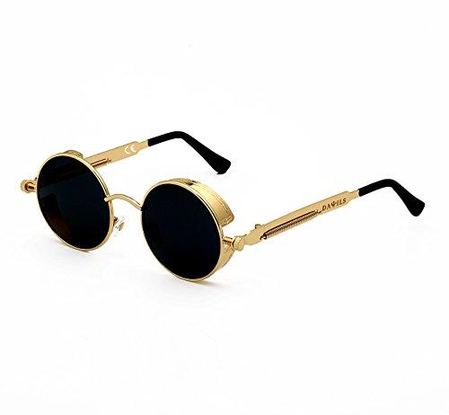 DAWILS Mujer Redondas Gafas de Sol Polarizadas Estilo John Lennon Retro Espejadas Lentes Marco Metálico