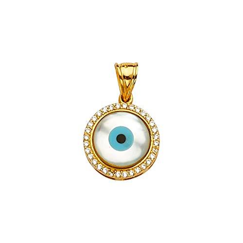 JewelryWeb Mopa Oro 14 Quilates + Colgante Ojo maligno