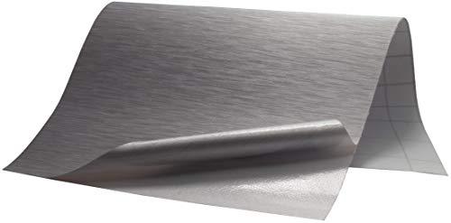6,5€/m² Folie Edelstahl gebürstet - SILBER - 100 x 152 cm blasenfrei selbstklebend flexibel Dekor Folie Auto Küche Klebefolie Schutzfolie - Edelstahl Folie