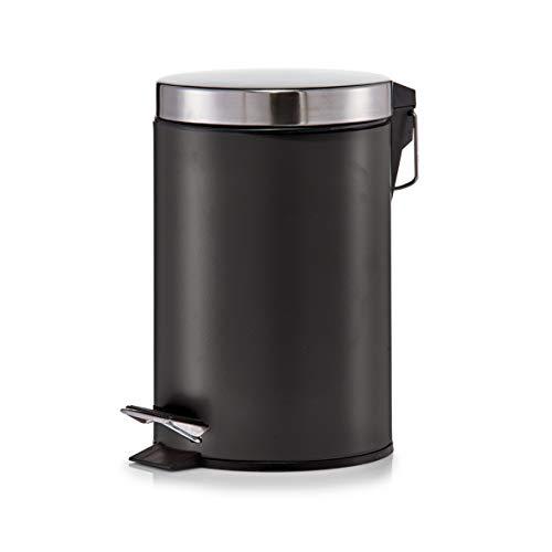 Zeller 18212 - Cubo de basura con pedal, ø17 cm, altura 26 cm, 3 litros, color negro mate