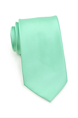 Puccini Schmale Krawatte, einfarbig, verschiedene Farben, Mikrofaser, Satinglanz, Handarbeit, 6 cm Slim Tie, Büro - Hochzeit - Alltag (Mintgrün)