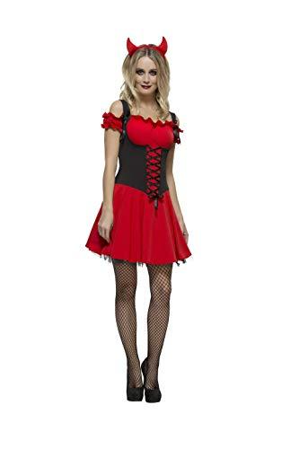 Fever, Damen Sündhafter Teufel Kostüm, Kleid mit Unterrock und Hörnern, Größe: M, 30886