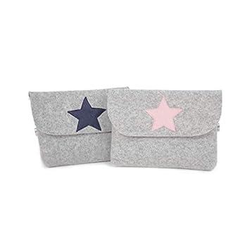 Universaltasche, Messanger, Taschenorganizer, Filztasche grau mit Stern