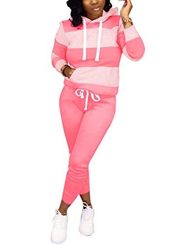 Tomwell Femme Ensemble Sweat-Shirt Pantalon Jogging Survêtement 2pcs imprimé Sportwear 01 Rose 36