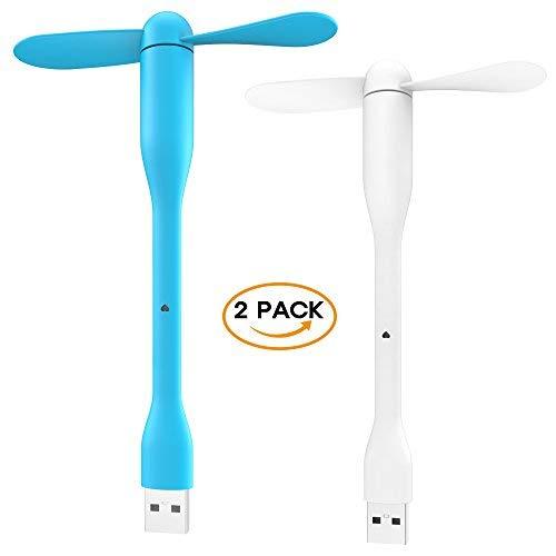 Aerb - Miniventilatori USB portatili con collo di cigno flessibile