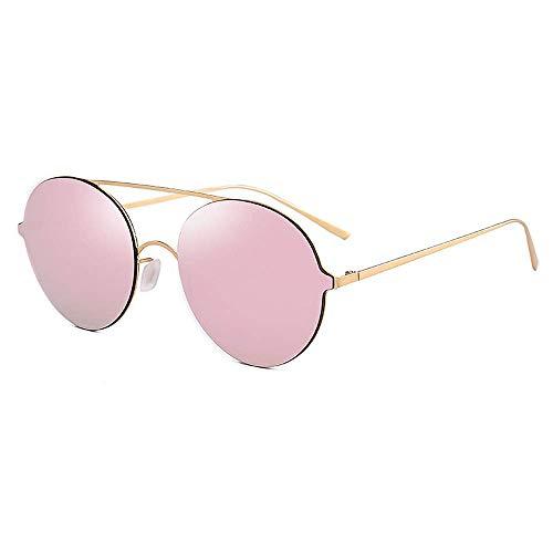 Yiph-Sunglass Sonnenbrillen Mode Farbige Linse Runde Form Metallic Frame UV-Schutz Sonnenbrillen für Unisex-Erwachsene Fahren im Freien (Farbe : C3)