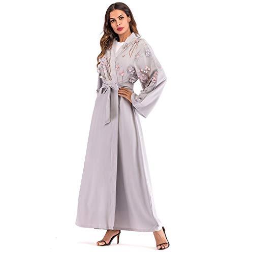Makefortune 2019 Damen Muslimische Kleider, Frauen Chiffon Langarm Kleid Elegant Stickerei Knöchellang Kleid Tunika Abaya Dubai Kleider Damen Abendkleid Hochzeit Kaftan Robe Islamische Frauen Gewand