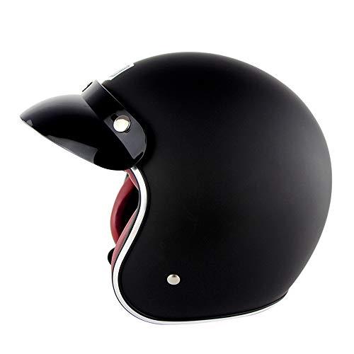 Motocicletta vintage metà caschi moto biker cruiser scooter touring 3/4 faccia aperta scooter testa protector casco comprendono casco rete (s, m, l, xl, xxl),c,s(55~56cm)