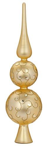Christbaumspitze Ornament Glas gold 31cm matt // Baumschmuck Weihnachtsbaumspitze Baumspitze Geschenk (Gold-glas Ornament)