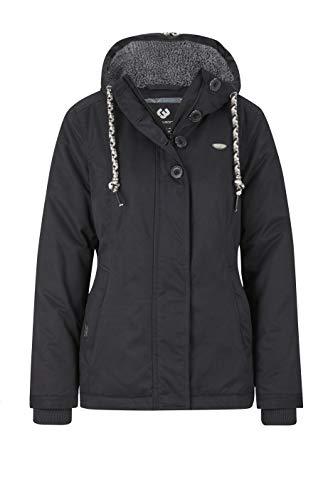 Ragwear Lynx Teddy Damen Frauen Winterjacke mit Kapuze,durchgängiges Futter, Monade, Regular Fit, wasserabweisend,Black(1010), L