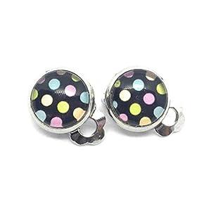 Kinder Ohrclips oder Stecker schwarz + Punkte dots Pünktchen 10mm Motiv Cabochon Ohrringe handgefertigt by Schmuckphantasien in silber auch als Ohrstecker handmade clips for kids
