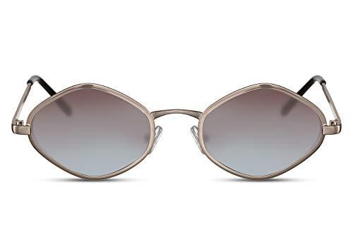 Cheapass Sonnenbrille Gold-en Braun Verlaufsglas Diamant Hexagonal Klein Schmal Rund UV-400 Designer-Brille Metall Damen Frauen