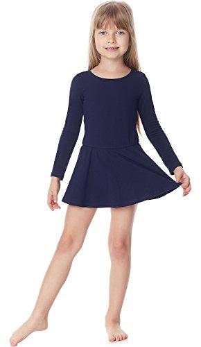 Merry Style Mädchen Body mit Rock Balletkleid Langarm MS10-138 (Dunkelblau, 110)